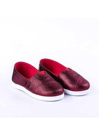 First Step Pullu Toms Keten Ayakkabı Pembe Kırmızı